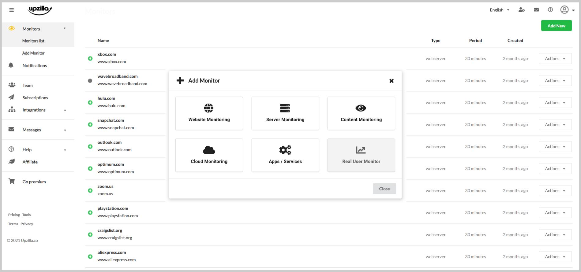 Upzilla monitoring report interface